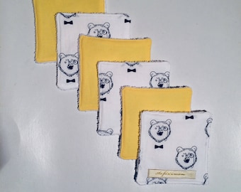 Wipes washable bear theme / ddebarbouillettes / /nnewborn birth / baby / baby / gift. French manufacturing
