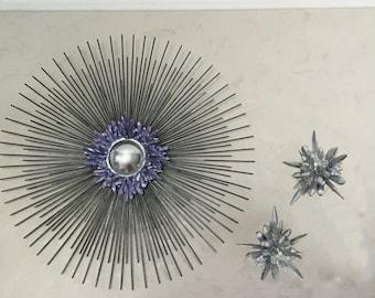 Crystal Starburst Trio, starburst mirror, sunburst mirror, unique sculpture, crystal cluster, urchin wall art, quartz, geode, gem, amethyst