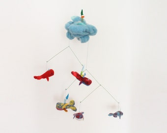 Waldorf Nursery Mobile Playscape with needle felted Whales and Magic Gnomes, baby mobile, nautical ornament, whales party, soft sculpture