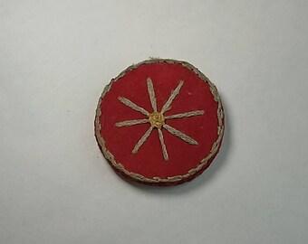 Vintage Unusual Flat Pincushion, Pocket or Purse Sized, Sewing