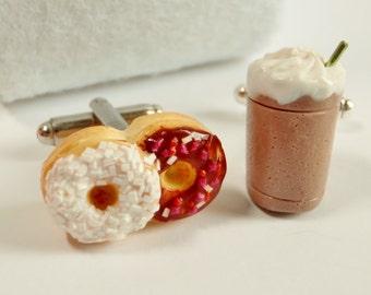Iced Caffè Mocha and Donuts Cufflinks - Dessert Cuff Links - Miniature Food Art Jewelry - Schickie Mickie Original