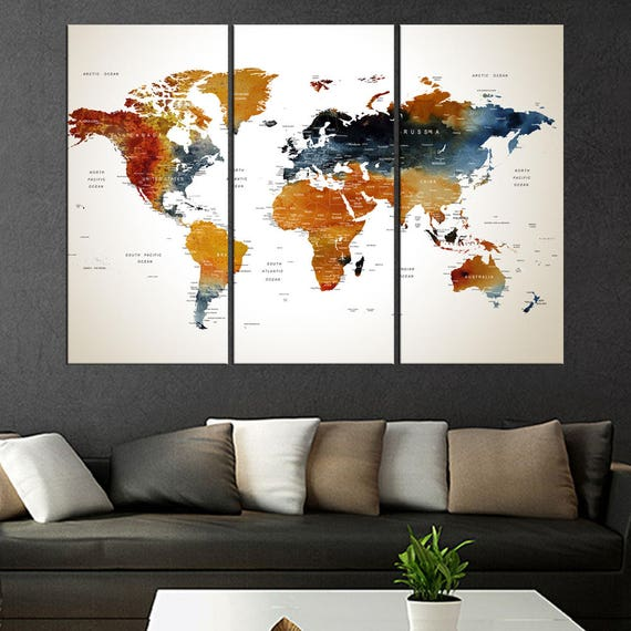 Huge large world map on canvas push pin push pin world map like this item gumiabroncs Images
