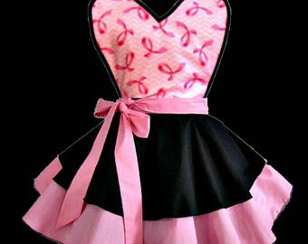Apron # 4272 Breast cancer inspired on a black and pink circular style retro apron