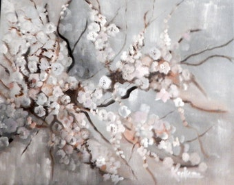 White on White Apple Blossoms, Oil Painting Size 20X16 Unframed.