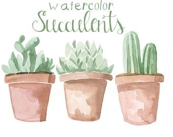 Watercolor Succulents Clip Art, ClipARt, Succulent ClipArt, Flower Clipart, Digital Commercial Use Succulent Wedding Clip Art, Plant