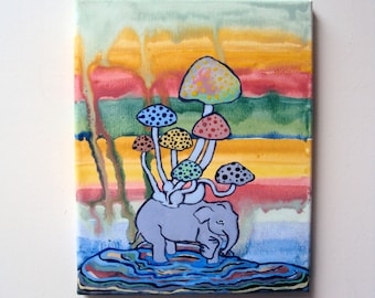 Whimsical Elephant Painting - Colorful Nursery Decor - 8x10 Hipster Wall Art - Boho Rainbow Hippie - Bright Bohemian - Original Indie Art