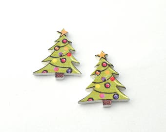 Set of 2 wooden Christmas tree buttons
