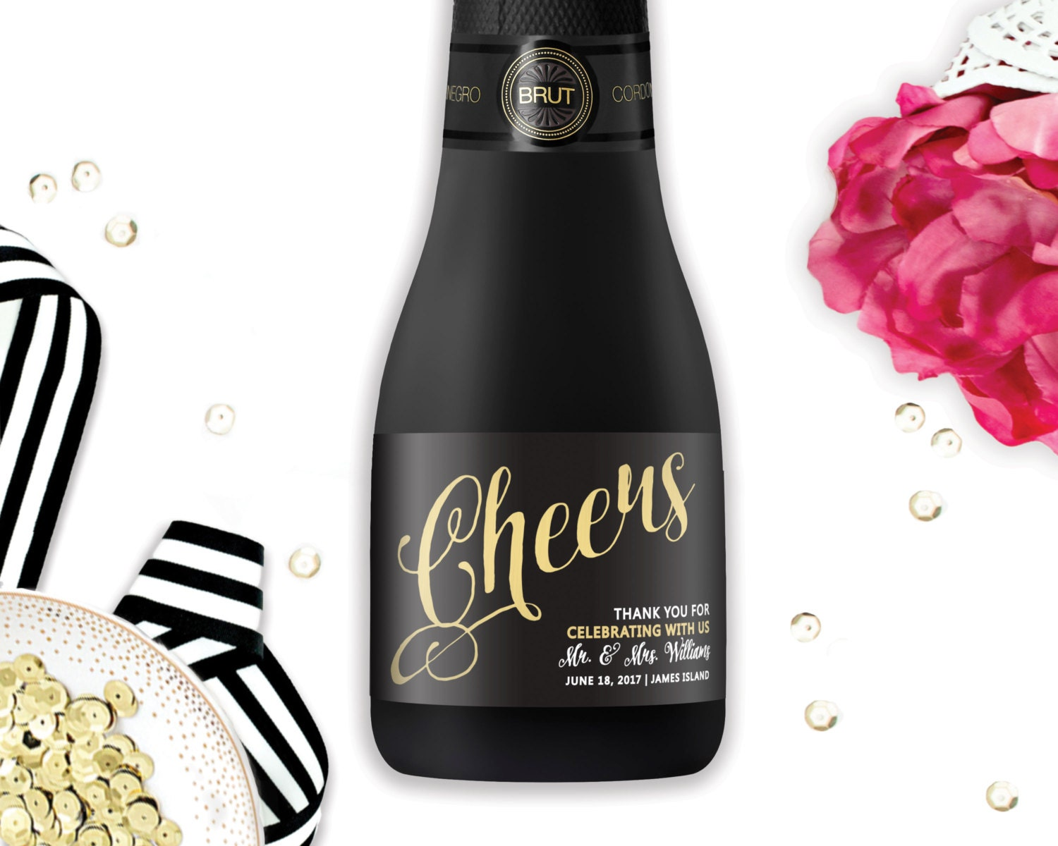 Mini Champagne Label Wedding Favors Cheers Champagne Labels