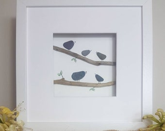Birds Singing - Framed Pebble Picture