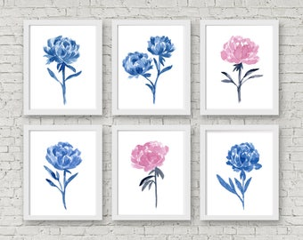 Blue and Pink Peony Flowers Set, 6 Abstract Peonies Watercolor Painting, Pink Wall Decor, Blue Flower Art Print, Kids Nursery Room, Floral