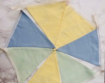 Yellow, Blue and Green Pastel Colour Bunting.  Baby shower, Nursery Decor, Farmhouse-style