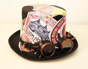 Stylized Hat steampunk with the world hotels tags