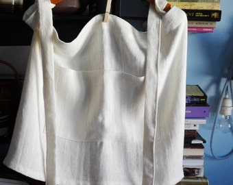Light cream linen half apron. Soft cafe apron. Linen huckaback apron.