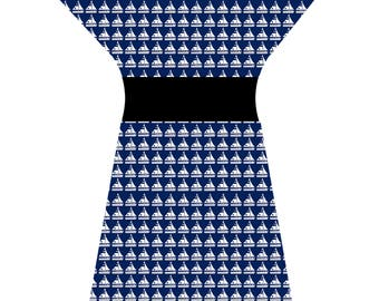 Bespoke Nautical Navy & White Sailing Boat Retro Tunic Dress - Custom printed fabric!