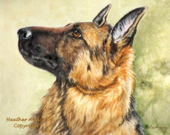 "4 German Shepherd Greeting Cards, w/envelopes, ""Devotion""  5 1/2"" x 4 1/4""  Heather Anderson canine artist"