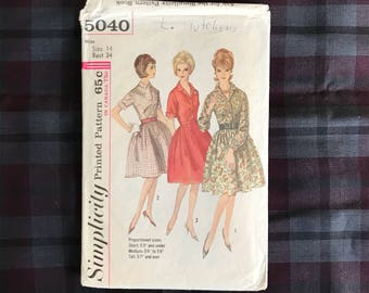 1960s Simplicity 5040 bust 34 one piece dress with full skirt pattern
