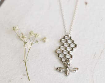 Silver Bee and Honeycomb Necklace, Honey Bee Necklace, Charm Necklace, Insect Jewellery, Drop Necklace, Valentines Day Gift, Gift For Her