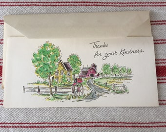 Vintage Thanks for your Kindness Greeting Card, Cards, Note, NOS, with original envelope, Charming, Artwork, Mail, Snail Mail, Stationery,