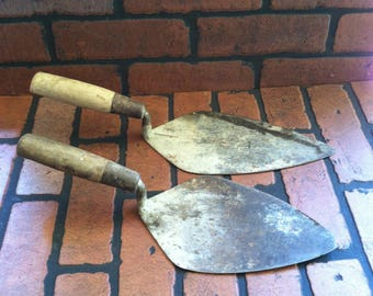 Vintage Brick Mason Tools Set of 2 / Vintage Masonry Trowels Set of 2 / Vintage Boston Trowel / Vintage London Trowel