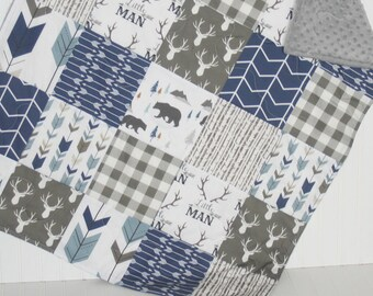boy baby quilt- navy baby quilt- bear baby quilt- baby boy bedding-minky baby quilt- arrow baby quilt- navy baby quilt- woodland quilt