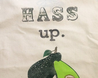Back That Hass Up Block Printed Avocado Tote Bag