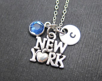 New York Necklace - Custom NYC Necklace, Personalized Handstamped Initial Name, Swarovski birthstone