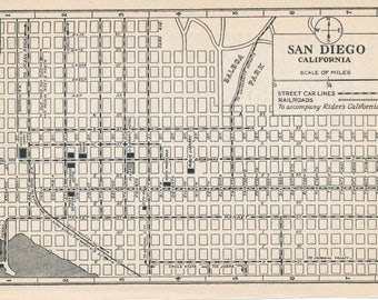 1925 San Diego California Antique Map