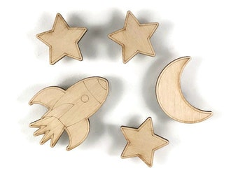Moon and Stars Magnet set Celestial magnets, star magnets, moon magnet, rocket, Grommit, Wallace, Sky, Kitchen Art, Wood, handmade, Ship