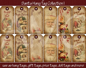Primitive Vintage Christmas Santa Printable Hang Tags for Scrapbooking Art