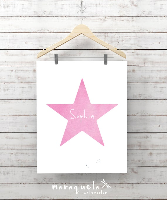 PINK or BLUE STAR custom print watercolor with name. Baby Shower, Customized gift for boy or girl baby. Wall Nursery art babies illustration