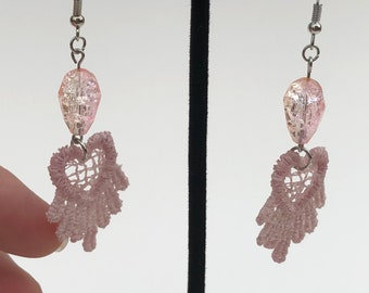 Pink lace earrings, lace earrings, pink earrings, dangle earrings, chic earrings, pink jewelry, lace jewelry, gift for her