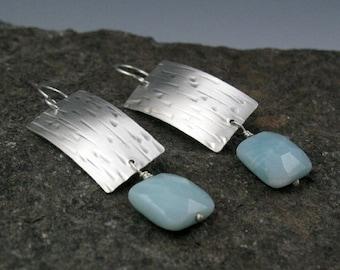 "Zen Silver and Amazonite Rectangular Earrings, ""Waterfall"""