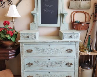 Gorgeous Green/Blue Vintage Gentleman's Dresser, Entryway Storage