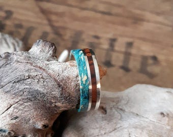 Silver ring with ironwood and Maple Burl