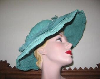 Vintage Turquoise Straw Pique Look Wide Brim Hat from French Film! (Regifilm)