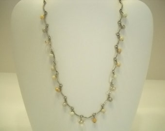 """Vintage Silver Tone 18"""" Beaded Necklace (5431)"""