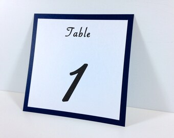 Navy Blue Table Number Cards (set of 5) - Flat