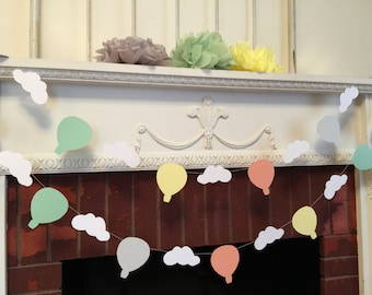 Oh the Places You'll go - Hot air balloon decorations- hot air balloon banner- hot air balloon baby shower decorations - your color choices