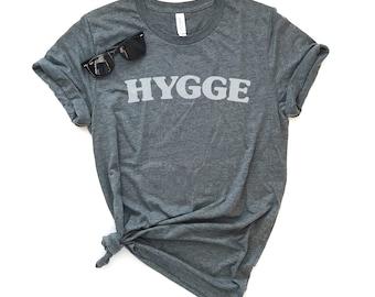Hygge Unisex Fit Tee - Danish Tee, Cozy Tee, Soft Tee, Graphic Tee, Gray Tee, Comfort, Heather Tee, Homebody, Heather with Friends, Gift