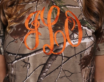 Short Sleeve Camo Monogrammed Shirt with Large Monogram