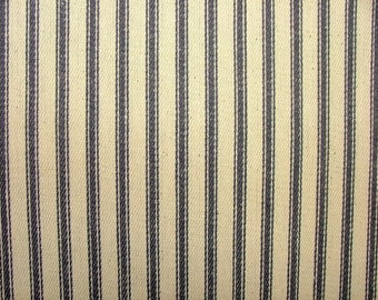 Blue And Cream COTTON CANVAS French Ticking Fabric Extra Wide Width 214cm