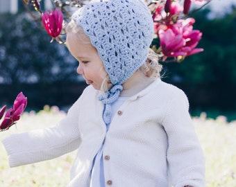 Magnolia Bonnet in Blue, Baby Girl Bonnet, Crochet Bonnet, Spring Outfit For Girls, Baby Shower Gift, Baby Girl Gift, Blue Bonnet Baby