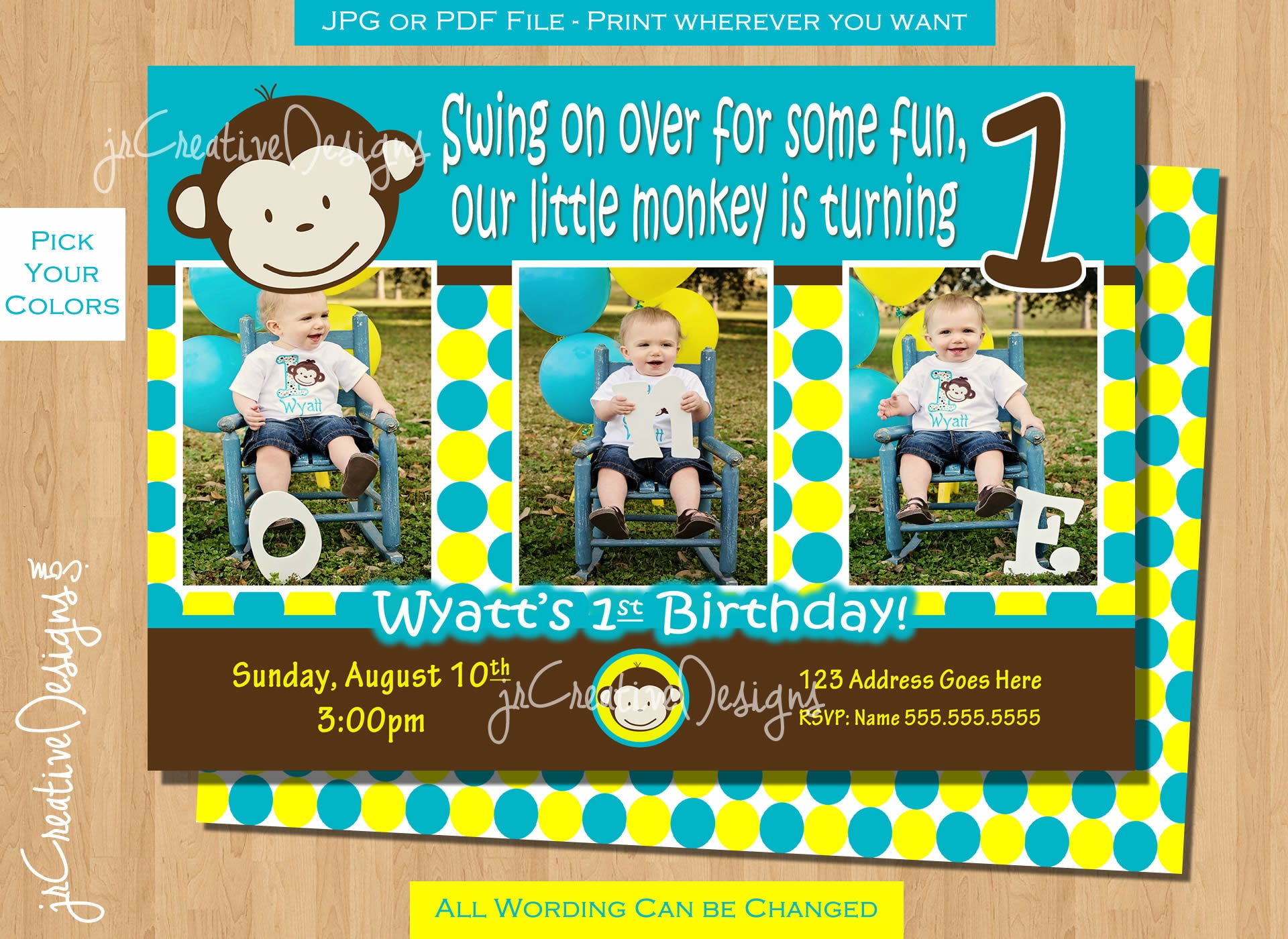 Mod Monkey Invitation Mod Monkey invite Photo 1st Birthday
