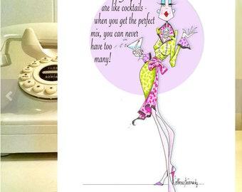 Funny Wine Card, Wine Humor, Cockatil birthday card, funny women birthday, women humor birthday, funny friendship Card, funny birthday cards