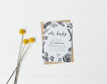 Modern, Baby Boy Shower Invitation, Woodland Baby Shower, Minimal Baby Shower - DIGITAL DOWNLOAD ONLY