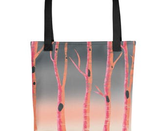 Pink Tree Peaceful Forest Woodland Scene Tote bag