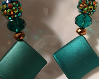 Emerald Green and Bronze Earrings