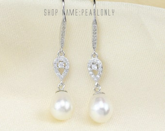 Bridesmaid pearl earrings,bridal pearl earrings,ivory pearl and crystal earrings,rhinestone wedding earrings,drop pearl dangle earrings