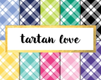Tartan Love Digital Paper Pack (Instant Download) preppy, plaid, tartan