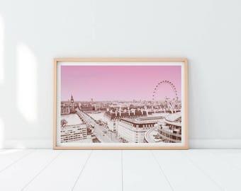 London Printable Print, City Prints, European City Print, Pink City Art, Printable Art, Modern wall decor, London Art, City Skyline